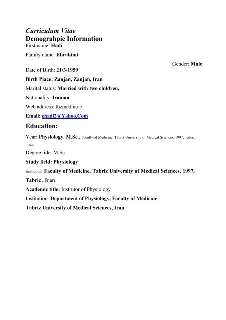 Curriculum Vitae Demograhpic Information Education O O U O U O U