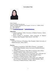 Curriculum Vitae Education: 1- General medicine, Tabriz University ...