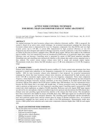 active noise control technique for diesel train locomotor