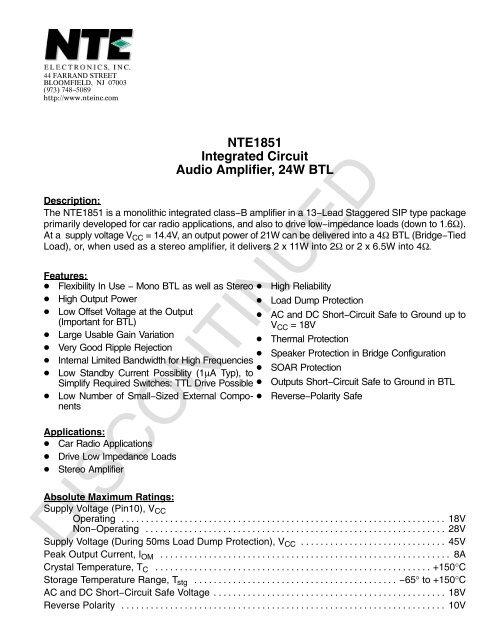 NTE1851 Integrated Circuit Audio Amplifier, 24W BTL