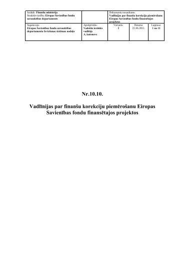 Vadlīnijas par finanšu korekciju piemērošanu Eiropas ... - ES fondi