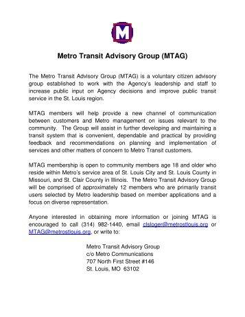 Metro Transit Adviso etro Transit Advisory Group (MTAG) AG)