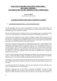 FAILLITE ET REORGANISATION JUDICIAIRE – REGARDS ... - Juridat