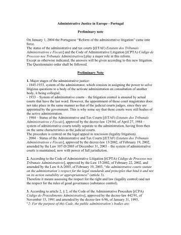 Portugal - Association des Conseils d'Etat et juridictions ...