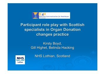 An advanced communication programme for Scottish Specialists in ...