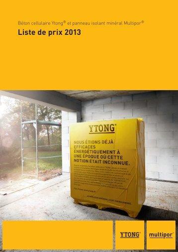 Liste de prix 2013 - Ytong