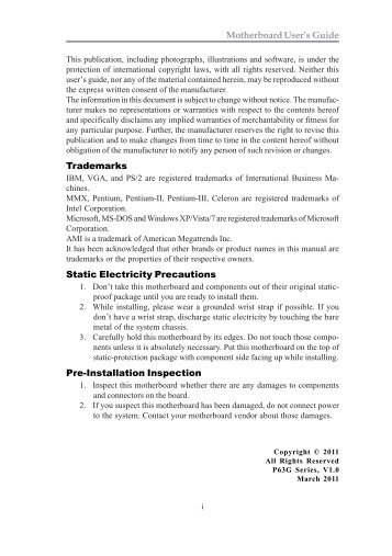Motherboard User's Guide Trademarks Static Electricity Precautions ...