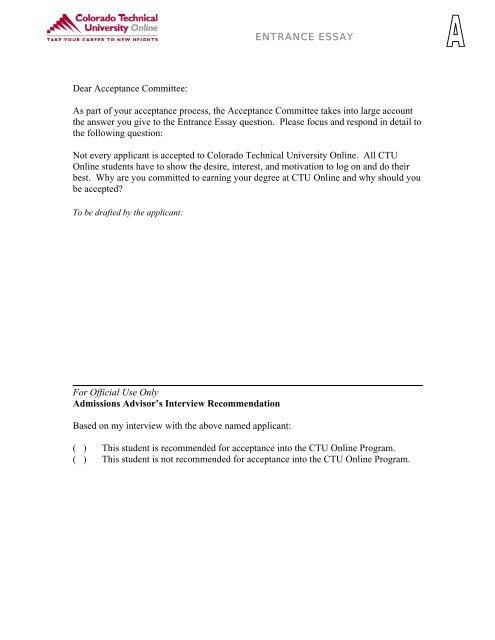 CTU Online Admissions Packet