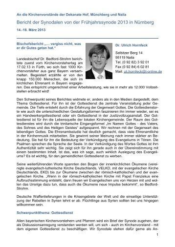 Bericht von der Frühjahrssynode 2013 in Nürnberg - Dekanatsbezirk ...