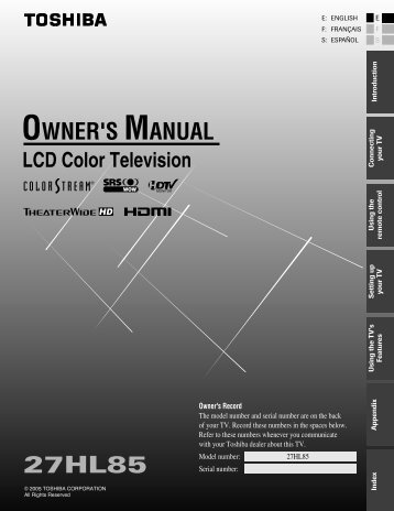 20hl85 owner s manual english toshiba canada rh yumpu com 6.5Hp Tecumseh Engine Manual Toshiba Remote Manuals