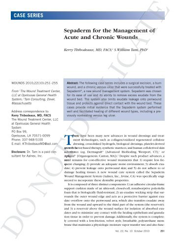 Sepaderm for the Management of Acute and Chronic Wounds the ...