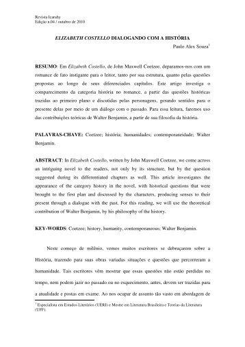 ELIZABETH COSTELLO DIALOGANDO COM A ... - revista Icarahy