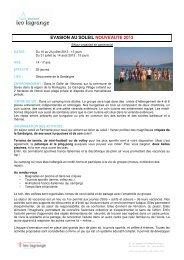EVASION AU SOLEIL NOUVEAUTE 2013