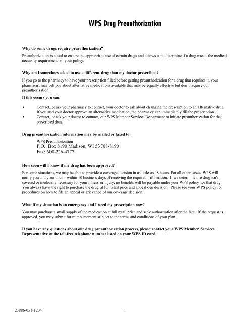 Wps Drug Preauthorization List