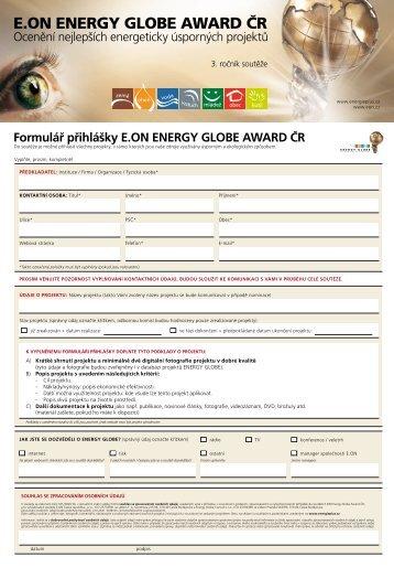 Formulář přihlášky E.ON ENERGY GLOBE AWARD ČR