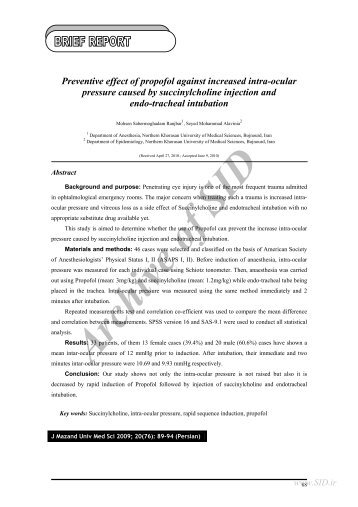 Preventive effect of propofol against increased intra-ocular ... - Sid