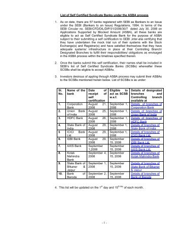 - 1 - List of Self Certified Syndicate Banks under the ASBA process 1 ...