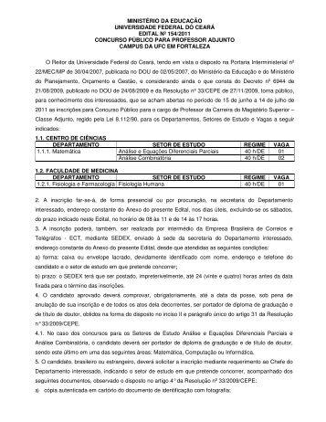 ministério da educação universidade federal do ceará edital nº 154 ...