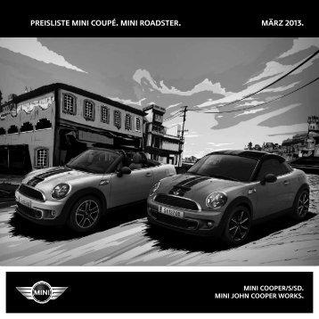 Preisliste MINI Coupé und MINI Roadster