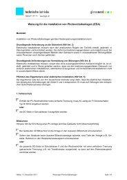 Weisungen für die Installation von Photovoltaikanlagen (EEA)