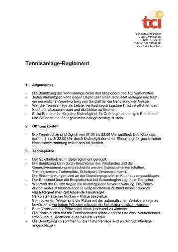 Tennisanlage-Reglement - Tennisclub Itschnach