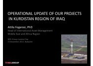 operational update of our projects in kurdistan region of iraq