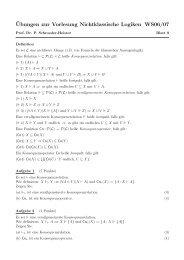 ¨Ubungen zur Vorlesung Nichtklassische Logiken WS06/07