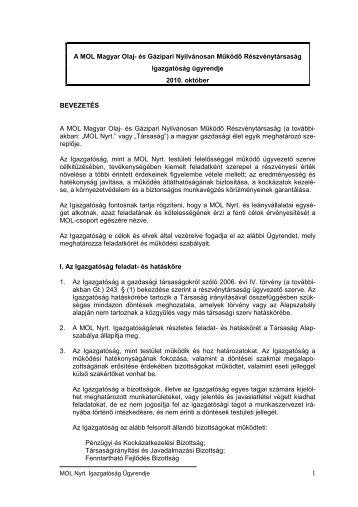 Igazgatóság ügyrendje - MOL-csoport Befektetői Kapcsolatok
