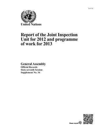 Report of the Joint Inspection Unit for 2012 and programme of work ...
