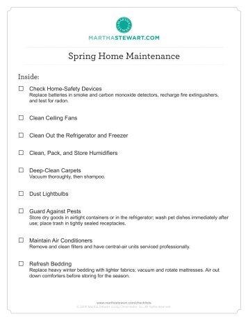 spring cleaning checklist martha stewart