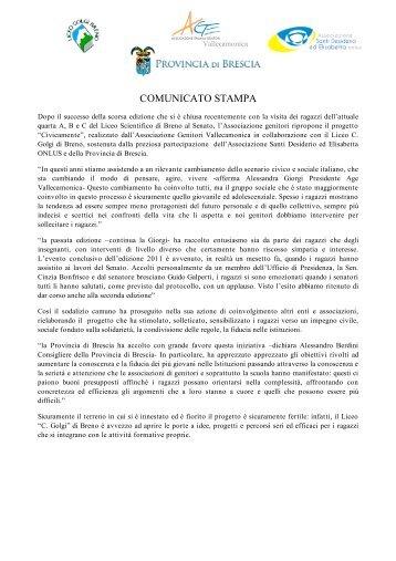 leggi il comunicato stampa - Associazione Santi Desiderio ed ...