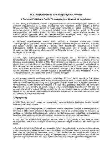 közgyűlési dokumentumok - MOL-csoport Befektetői Kapcsolatok