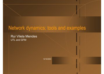 Network dynamics: tools and examples