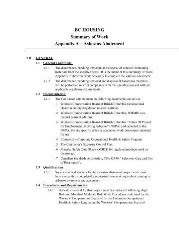 BC HOUSING Summary of Work Appendix A – Asbestos Abatement
