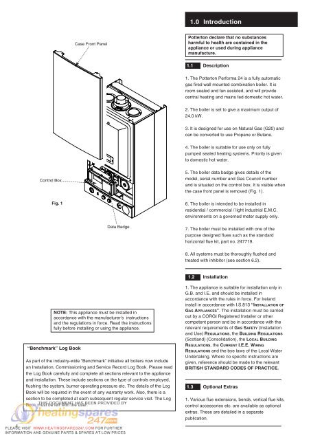 Potterton Performa 24 >> 1 0 Introduction Case Fro