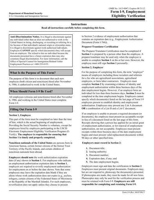 Form I-9, Employment Eligibility Verification - California ...