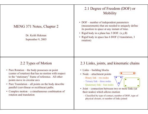 MENG 371 Notes, Chapter 2 2 1 Degree of Freedom (DOF) or