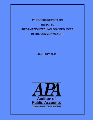 progress report on selected information technology projects