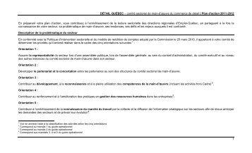 Tableau 3 : Activités reliées au Cadre : promotion ... - Détail Québec
