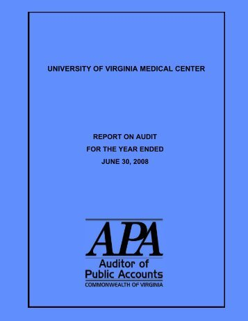 University of Virginia Medical Center for the year ended June 30, 2008