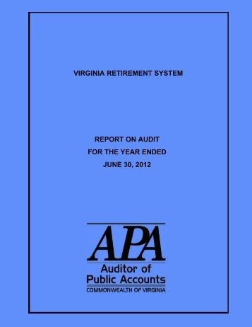 Virginia Retirement System for the year ended June 30, 2012