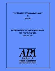 The College of William and Mary in Virginia Intercollegiate Athletics ...