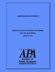James Madison University Intercollegiate Athletics Programs for the ...