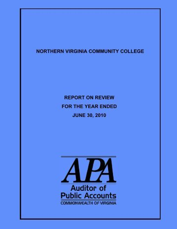Northern Virginia Community College Report on Review for the ...