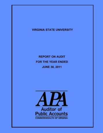 Virginia State University for the year ended June 30, 2011