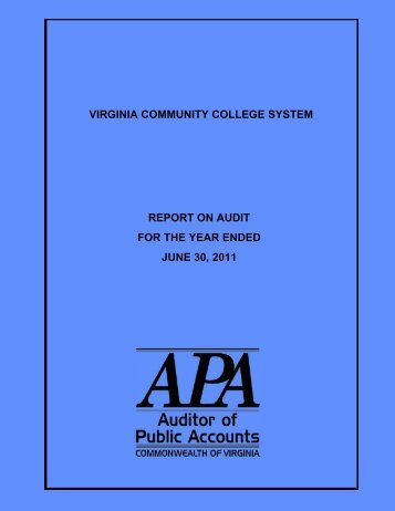 Virginia Community College System for the year ended June 30, 2011