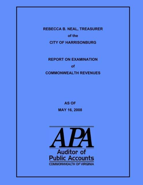 Rebecca B. Neal, Treasurer of the City of Harrisonburg Report on ...