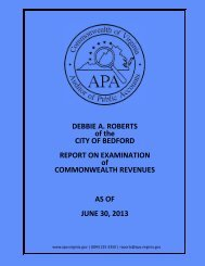 Report on Examination of Commonwealth Revenues for the City of ...