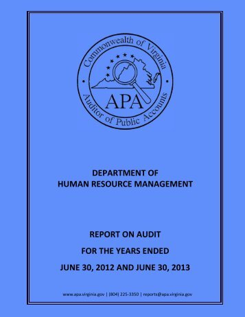 Department of Human Resource Management for the two year ...
