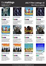 JULY Film Listings v2 More films on website - The Maltings